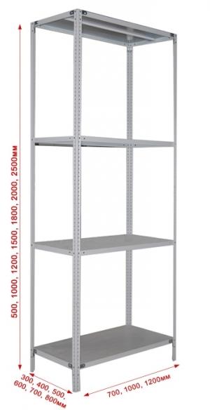 Стеллаж металлический сборный 244-2.0 купить на выгодных условиях в Рязани